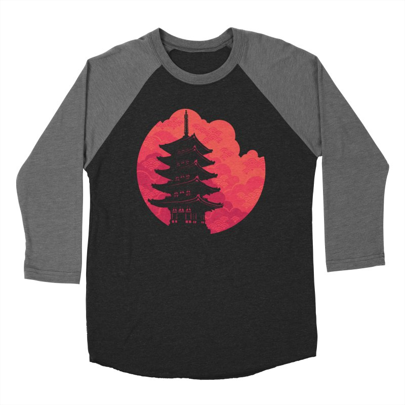 Pagoda Sunset Women's Baseball Triblend Longsleeve T-Shirt by Waynem