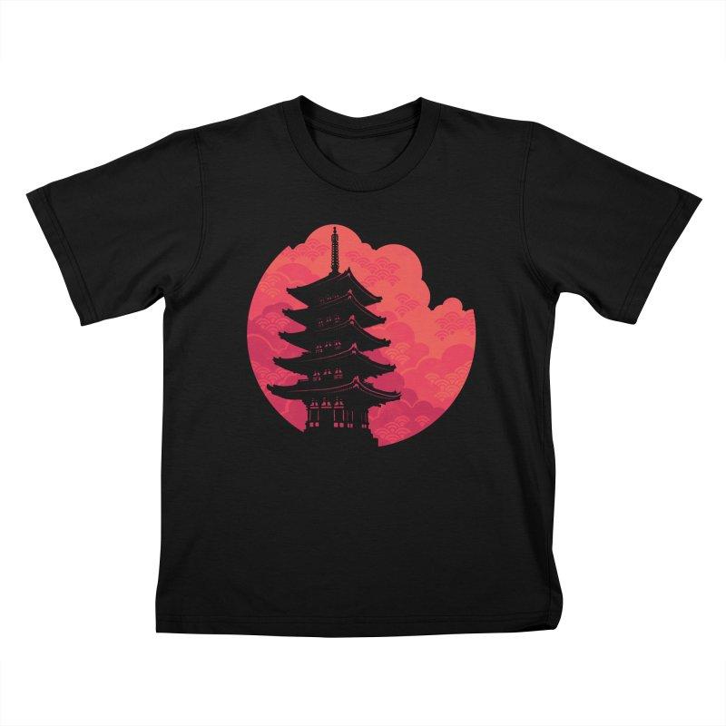 Pagoda Sunset Kids T-Shirt by Waynem