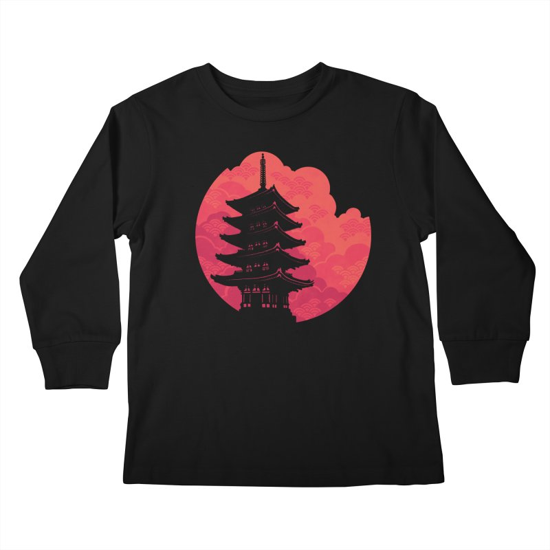 Pagoda Sunset Kids Longsleeve T-Shirt by Waynem