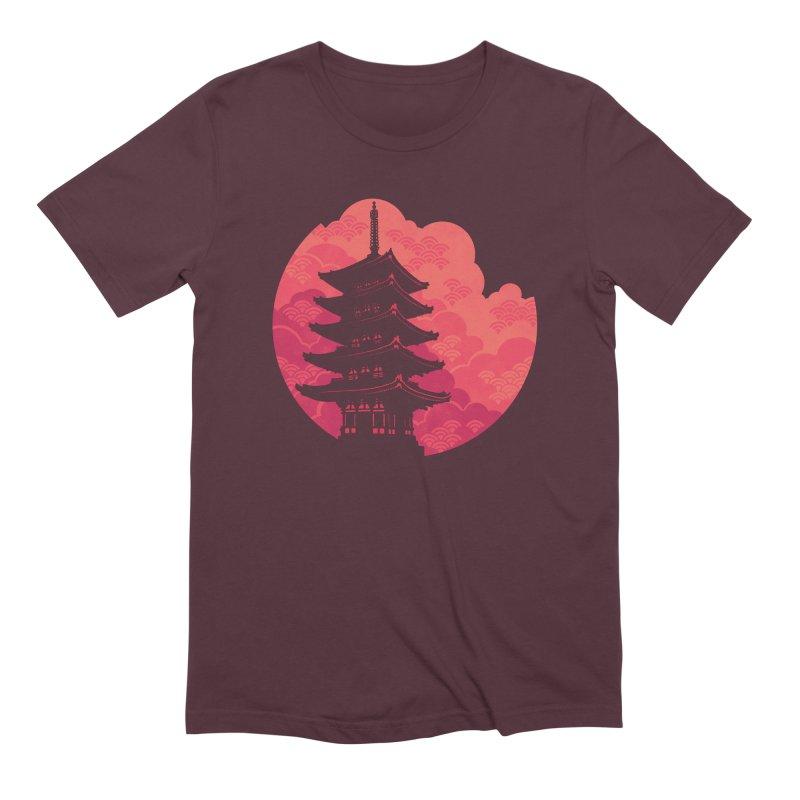 Pagoda Sunset Men's Extra Soft T-Shirt by Waynem