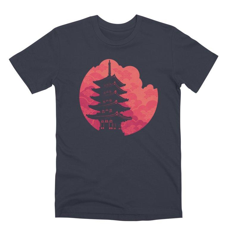 Pagoda Sunset Men's Premium T-Shirt by Waynem