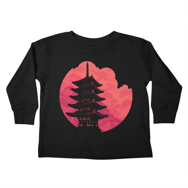 Pagoda Sunset Kids Toddler Longsleeve T-Shirt by Waynem
