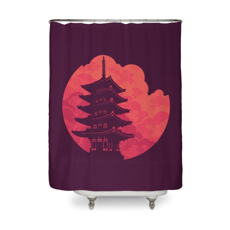 Pagoda Sunset Home Shower Curtain by Waynem