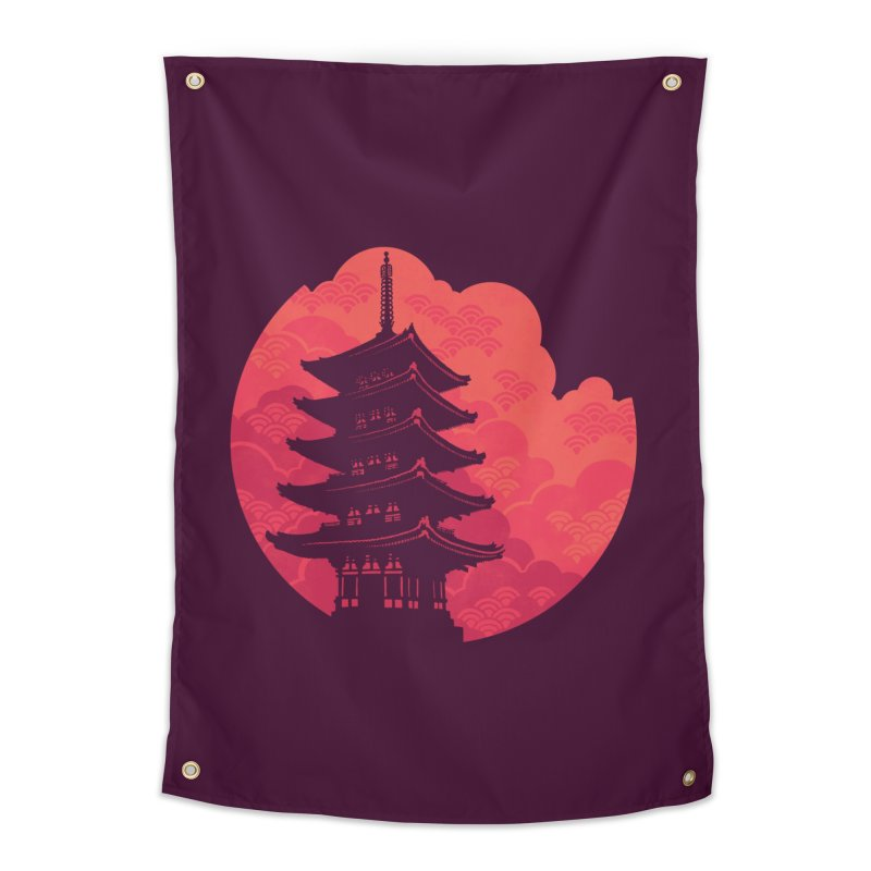 Pagoda Sunset Home Tapestry by Waynem