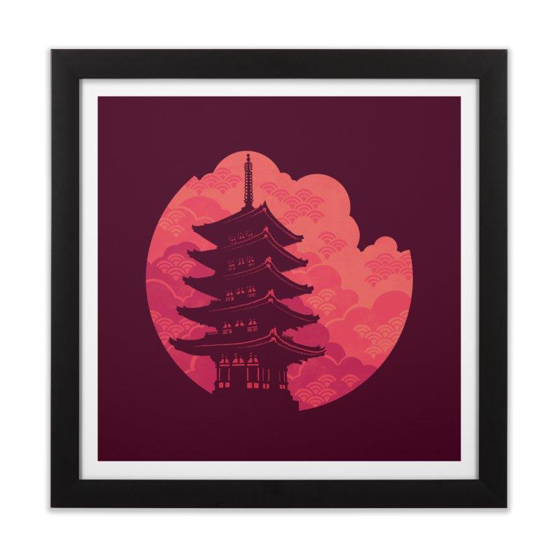 Pagoda Sunset Home Framed Fine Art Print by Waynem
