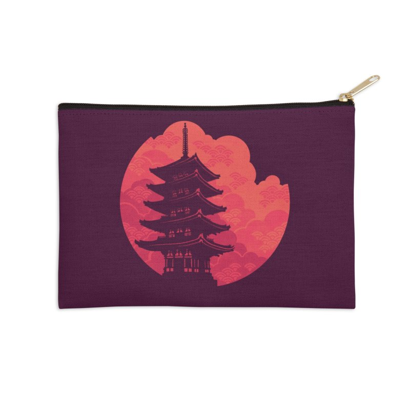 Pagoda Sunset Accessories Zip Pouch by Waynem