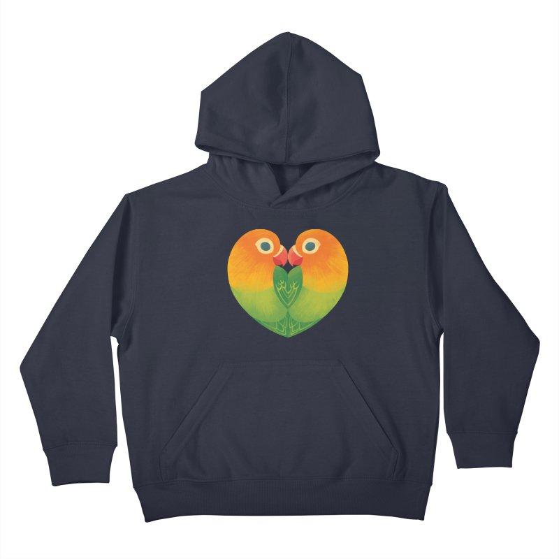 Lovebirds Kids Pullover Hoody by Waynem
