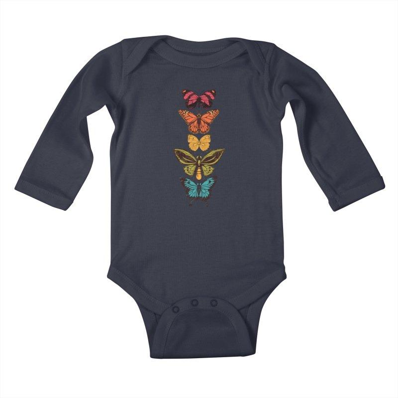 Butterfly Spectrum Kids Baby Longsleeve Bodysuit by Waynem