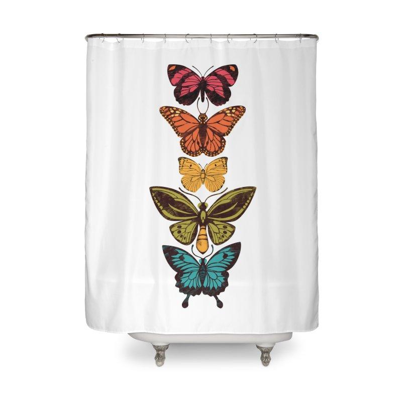 Butterfly Spectrum Home Shower Curtain by Waynem