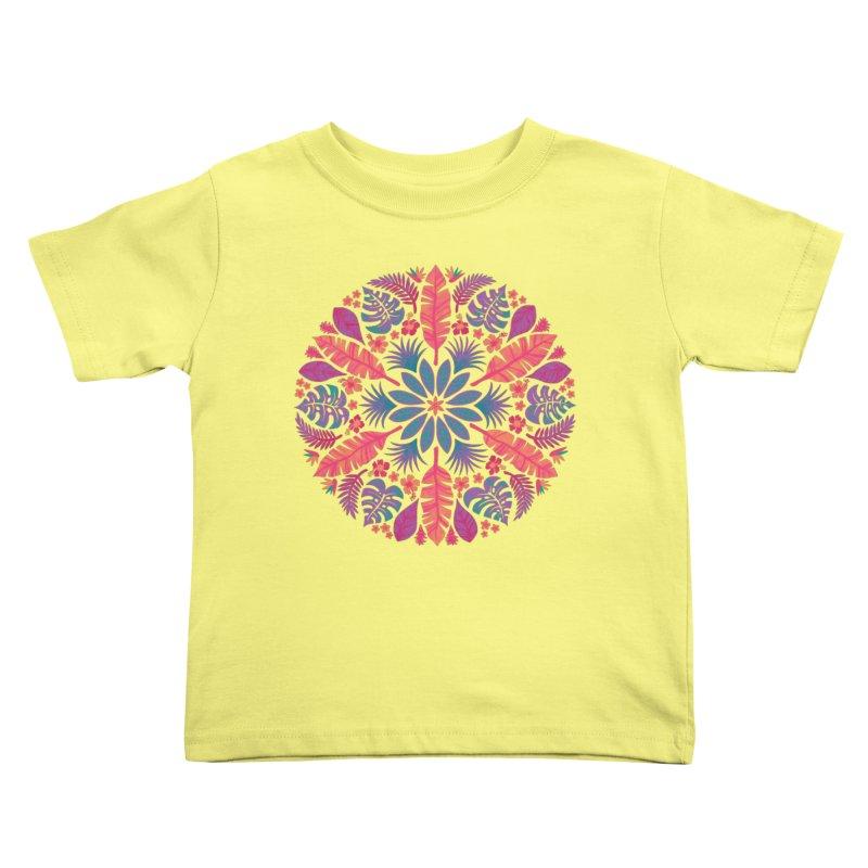 Technicolour Tropical Sun Kids Toddler T-Shirt by Waynem