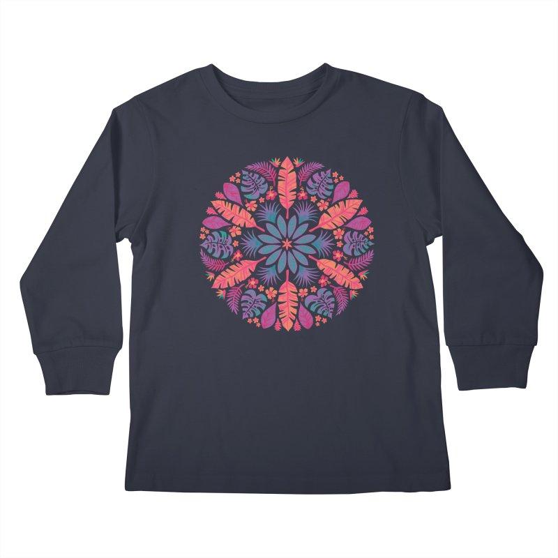 Technicolour Tropical Sun Kids Longsleeve T-Shirt by Waynem