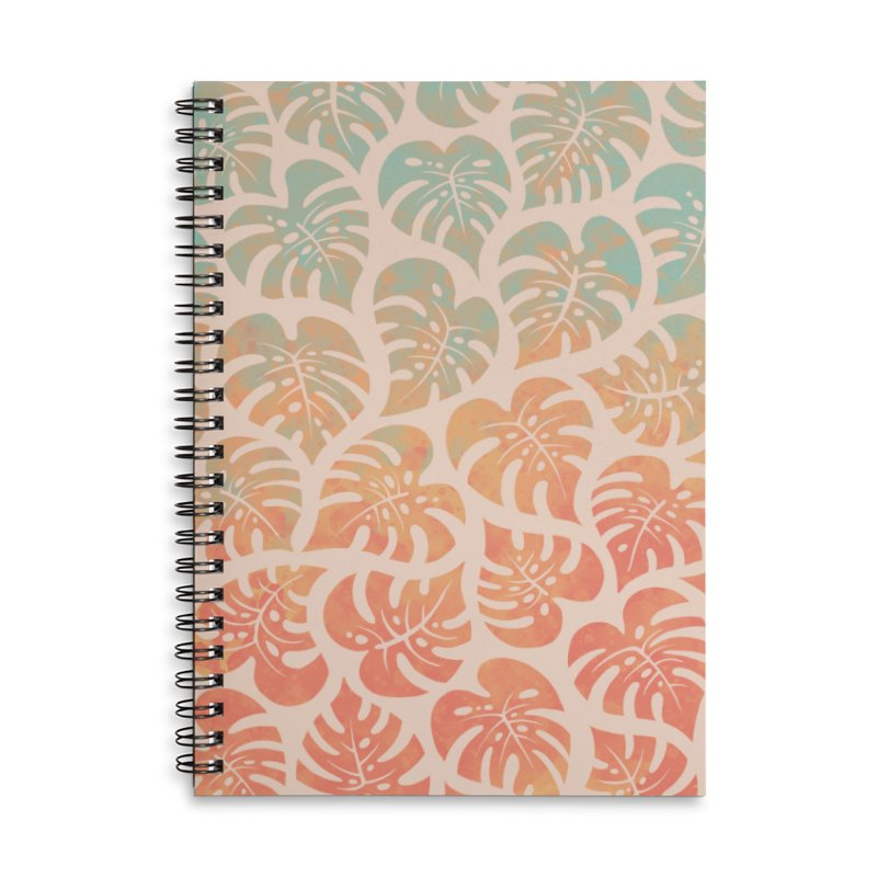 Monstera Mash Accessories Lined Spiral Notebook by Waynem
