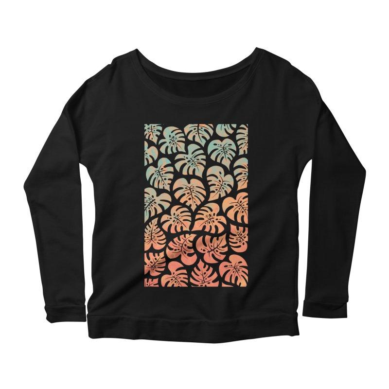 Monstera Mash Women's Scoop Neck Longsleeve T-Shirt by Waynem