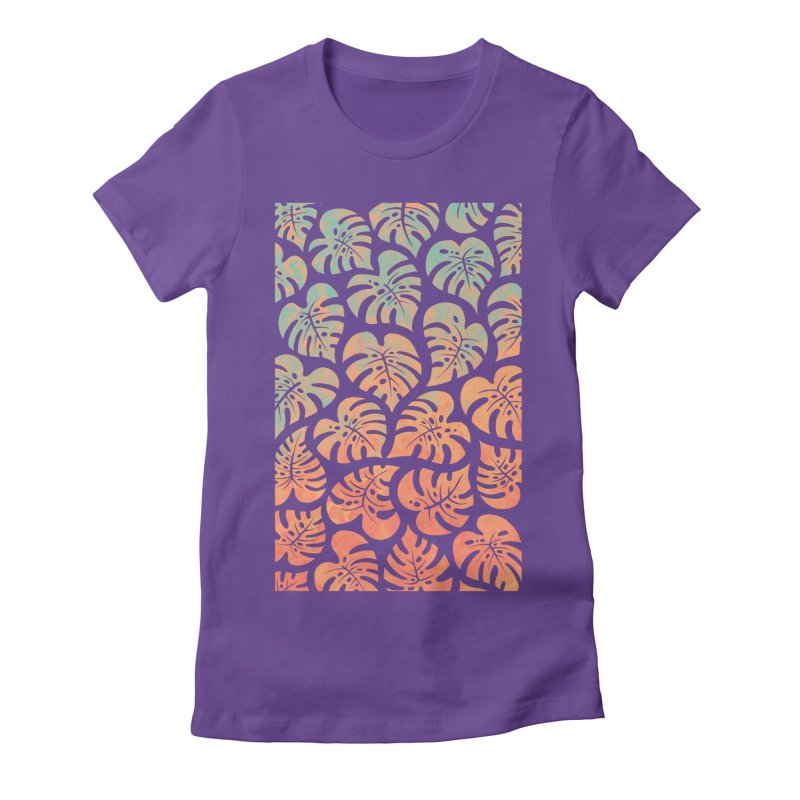 Monstera Mash Women's Fitted T-Shirt by Waynem