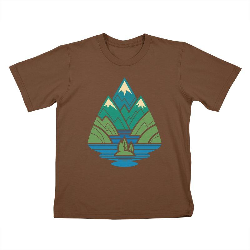 Mountain Lake Kids T-Shirt by Waynem