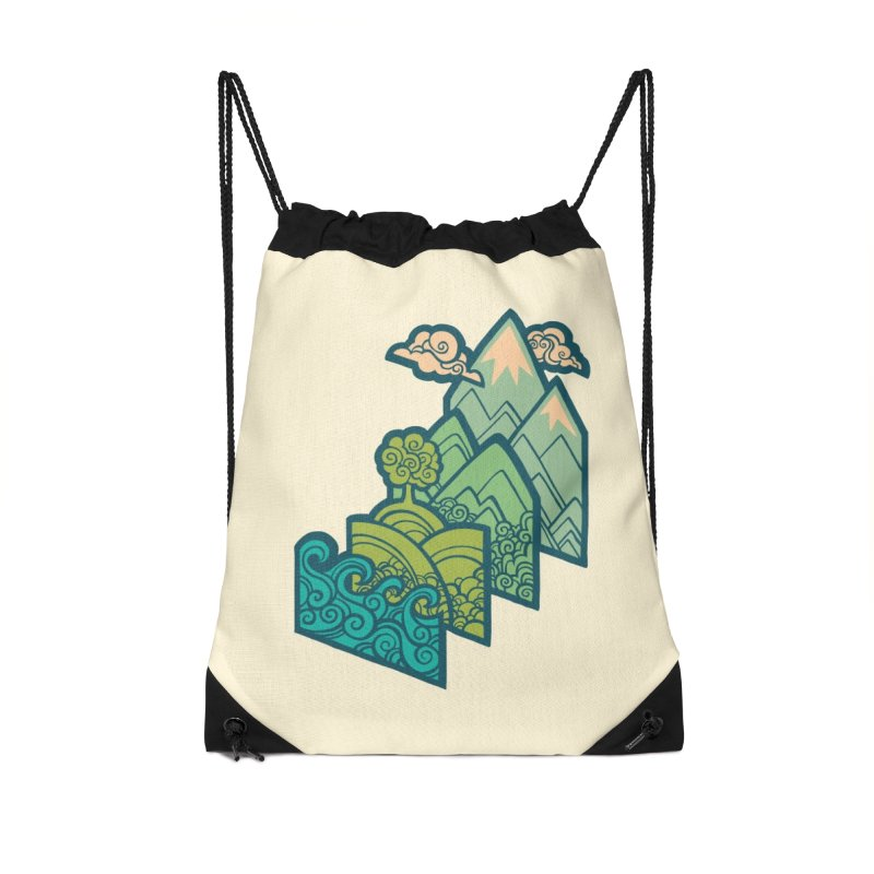 How to Build a Landscape : cream Accessories Drawstring Bag Bag by Waynem
