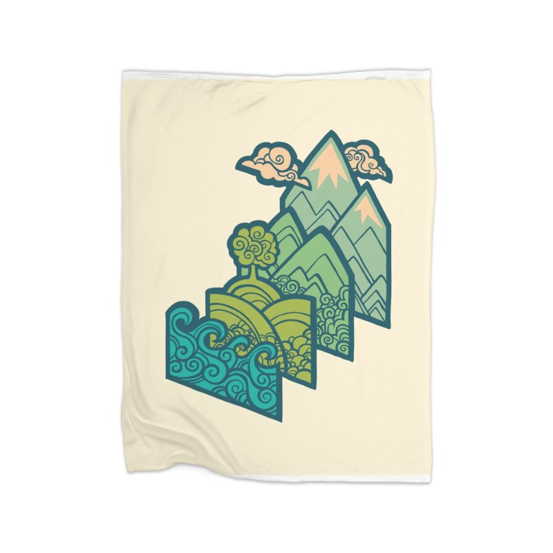 How to Build a Landscape : cream Home Fleece Blanket Blanket by Waynem
