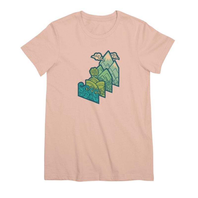 How to Build a Landscape : cream Women's Premium T-Shirt by Waynem