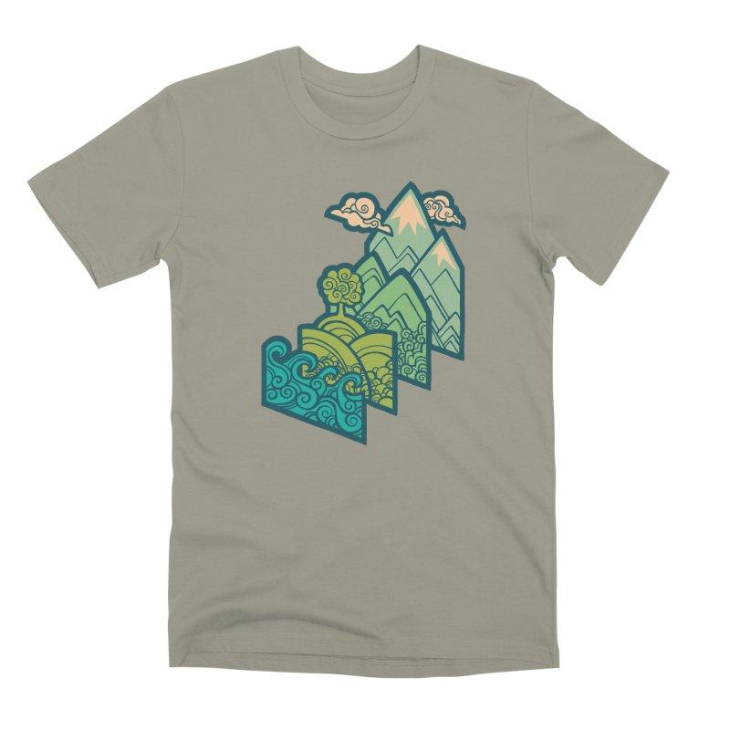 How to Build a Landscape : cream Men's Premium T-Shirt by Waynem