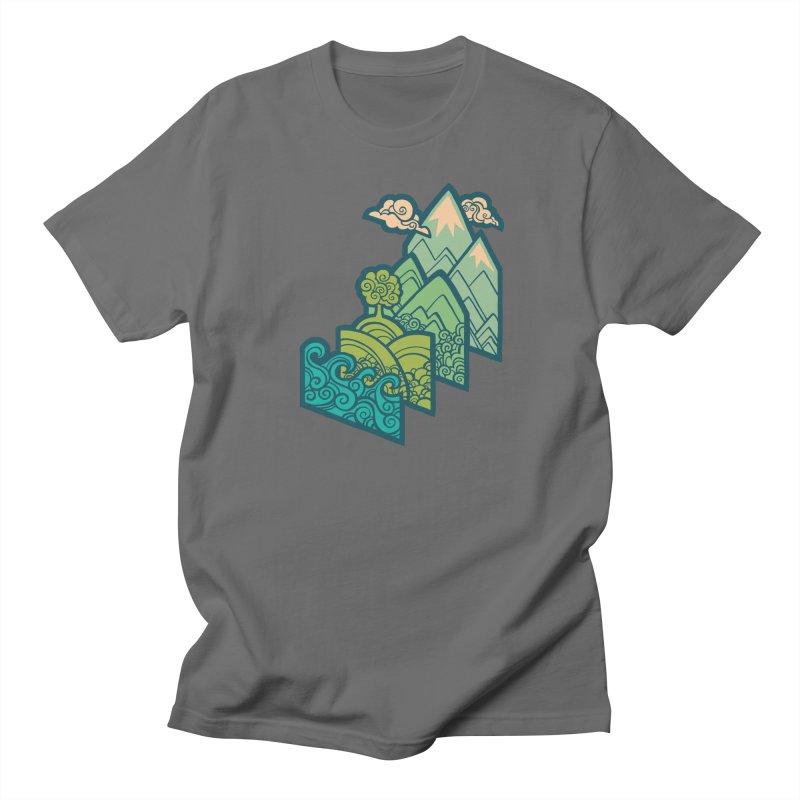 How to Build a Landscape : cream Men's T-Shirt by Waynem
