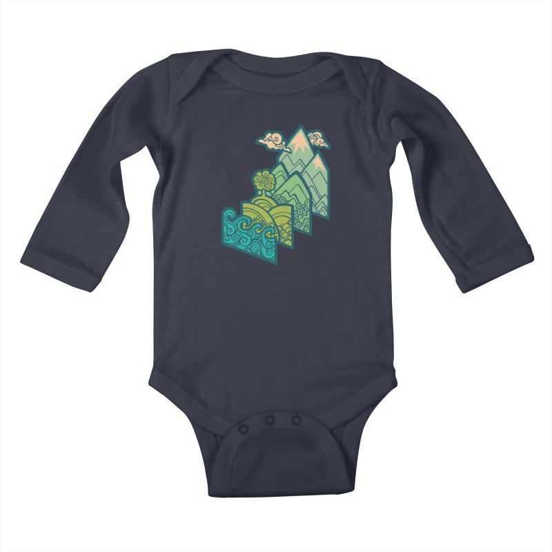 How to Build a Landscape : cream Kids Baby Longsleeve Bodysuit by Waynem