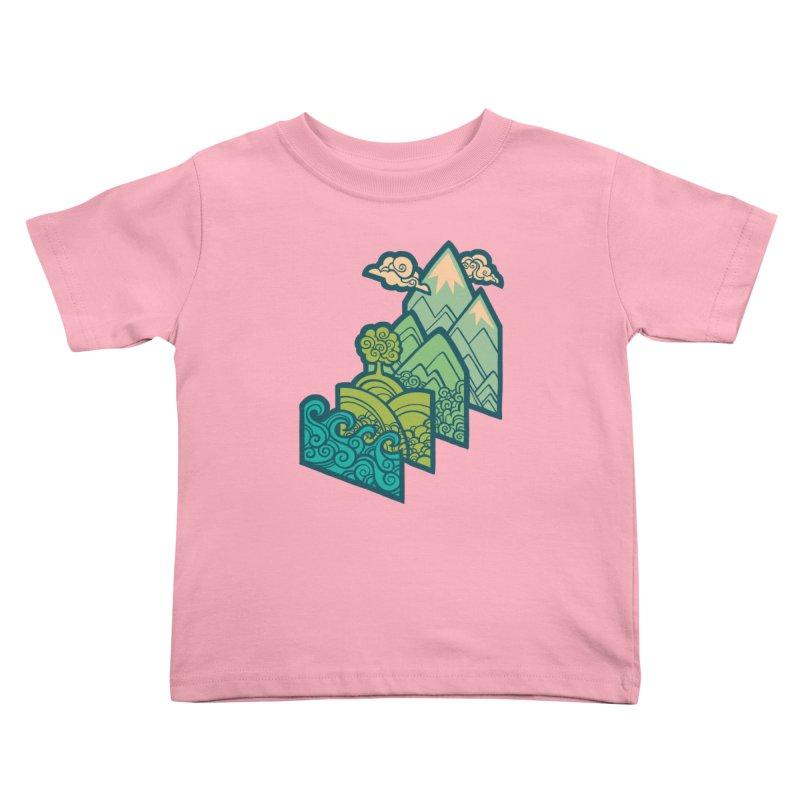 How to Build a Landscape : cream Kids Toddler T-Shirt by Waynem