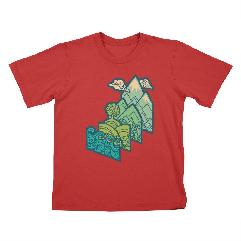 How to Build a Landscape : cream Kids T-Shirt by Waynem