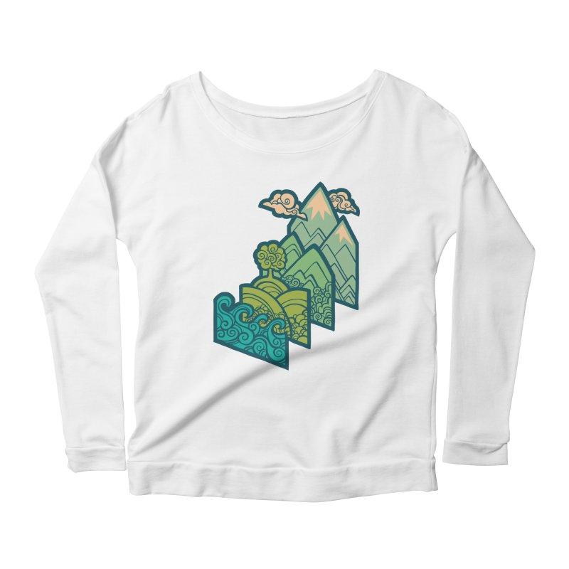 How to Build a Landscape : cream Women's Scoop Neck Longsleeve T-Shirt by Waynem