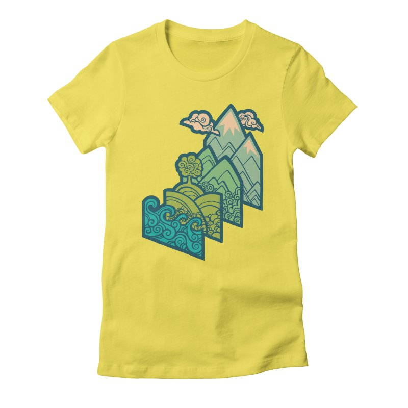 How to Build a Landscape : cream Women's Fitted T-Shirt by Waynem