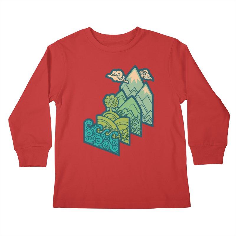 How to Build a Landscape : cream Kids Longsleeve T-Shirt by Waynem