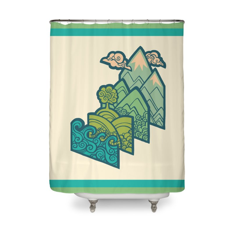 How to Build a Landscape : cream Home Shower Curtain by Waynem