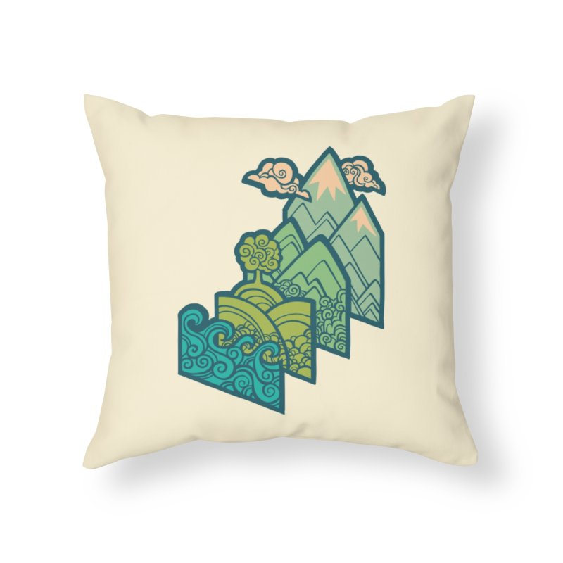 How to Build a Landscape : cream Home Throw Pillow by Waynem