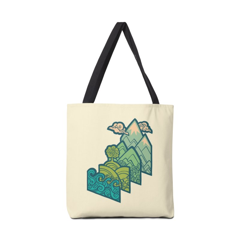 How to Build a Landscape : cream Accessories Tote Bag Bag by Waynem