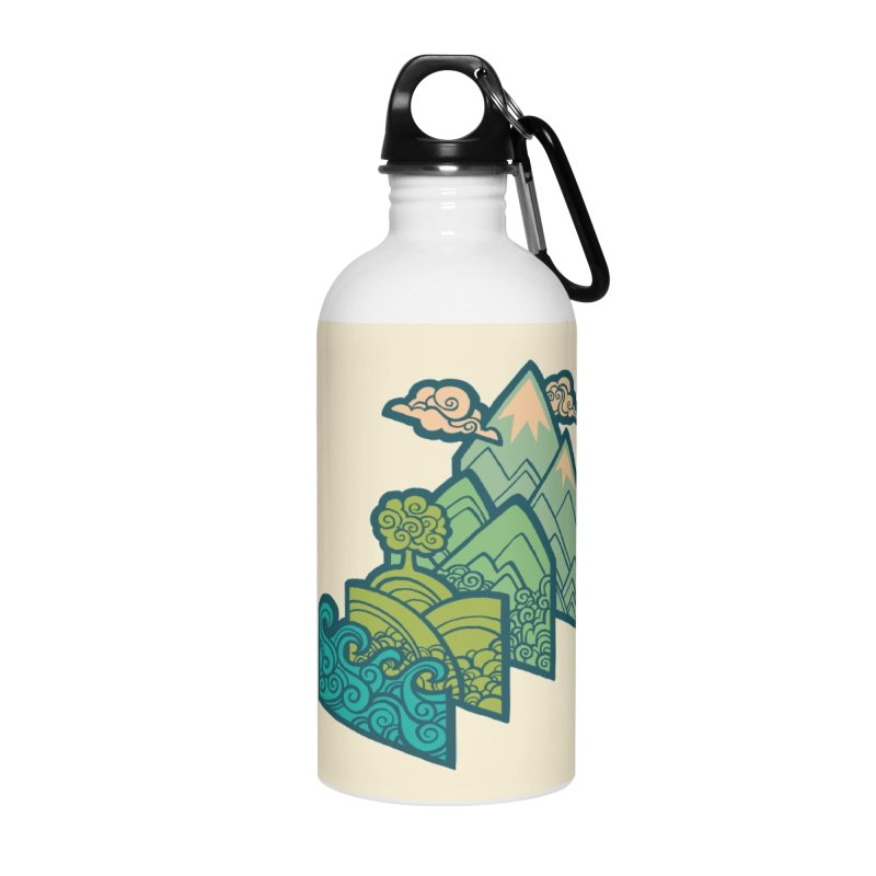 How to Build a Landscape : cream Accessories Water Bottle by Waynem