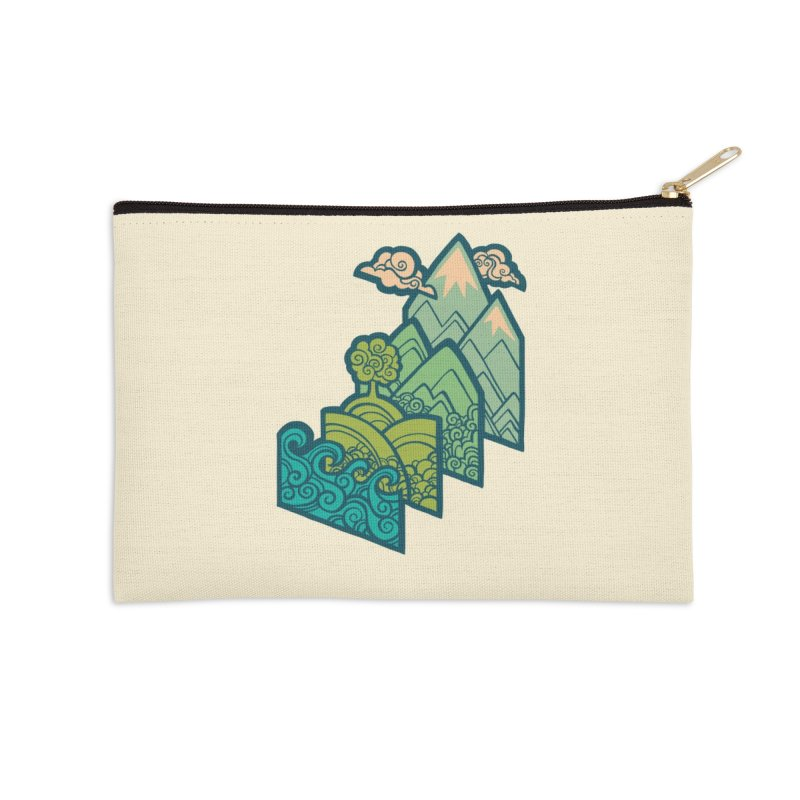How to Build a Landscape : cream Accessories Zip Pouch by Waynem