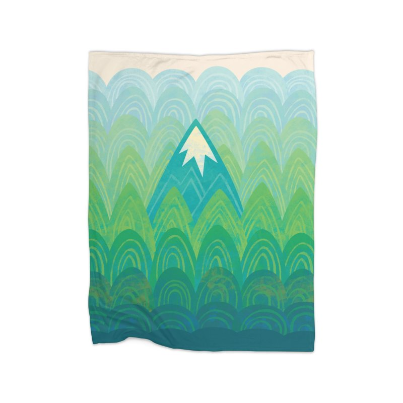 Towering Mountain Home Fleece Blanket Blanket by Waynem