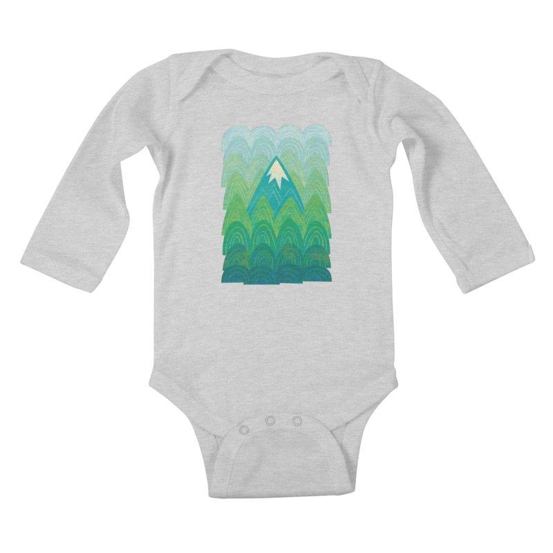 Towering Mountain Kids Baby Longsleeve Bodysuit by Waynem