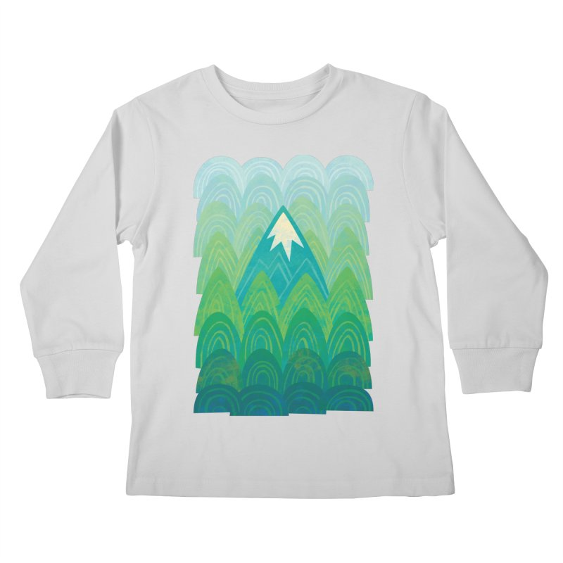 Towering Mountain Kids Longsleeve T-Shirt by Waynem