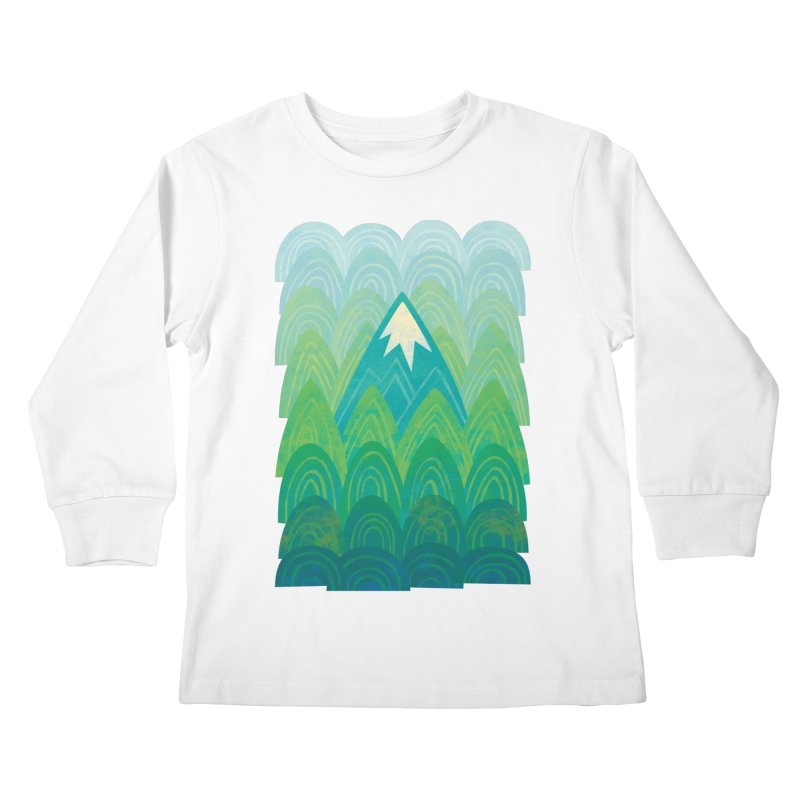Towering Mountain Kids Longsleeve T-Shirt by Waynem