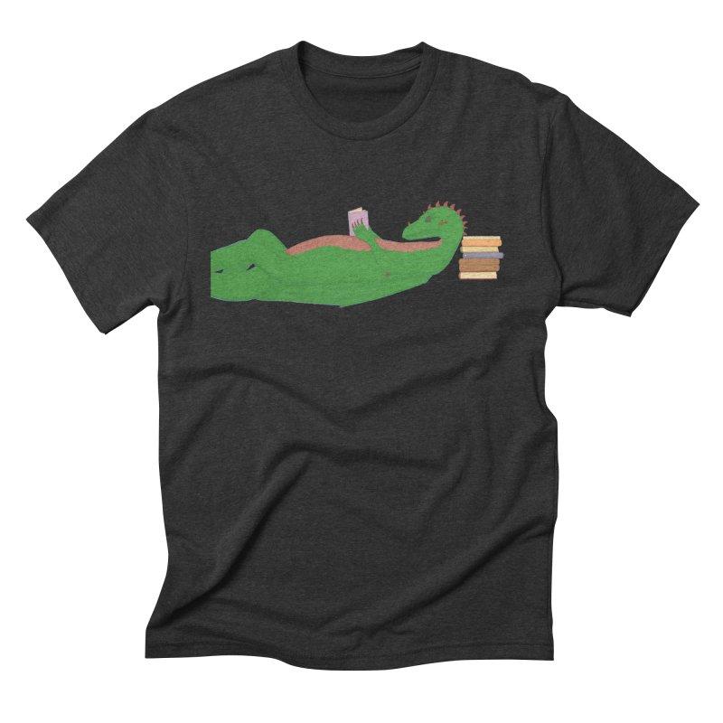 Dragon Reader Men's Triblend T-Shirt by wchwriter's Artist Shop