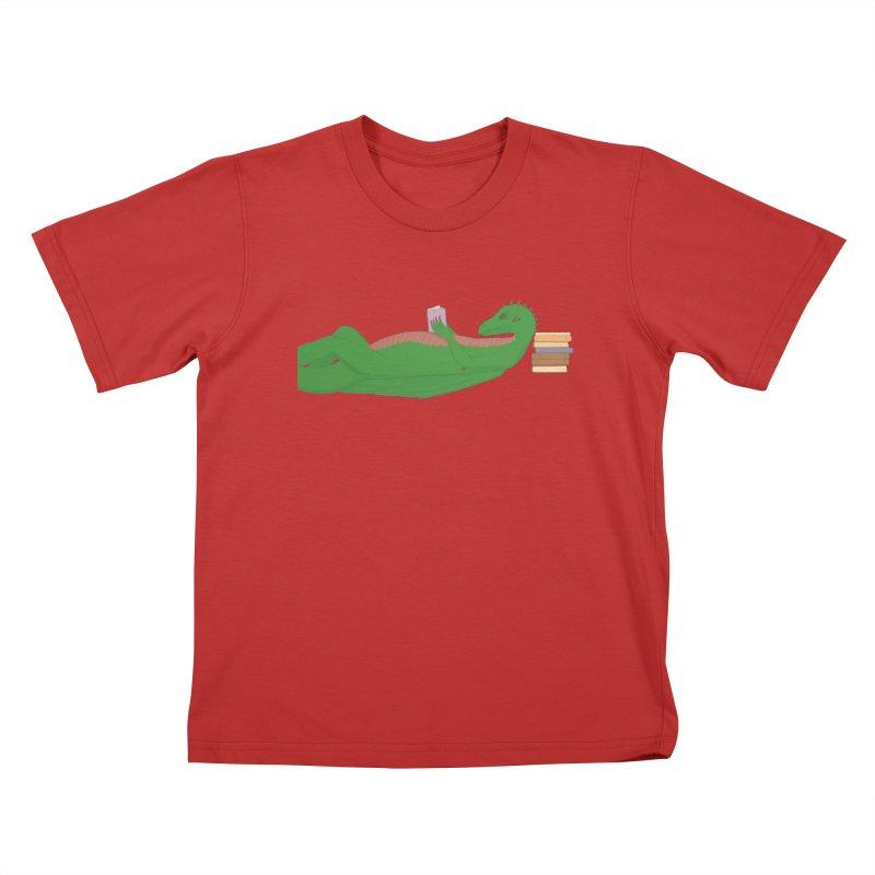 Dragon Reader Kids T-Shirt by wchwriter's Artist Shop