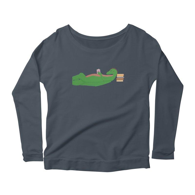 Dragon Reader Women's Scoop Neck Longsleeve T-Shirt by wchwriter's Artist Shop