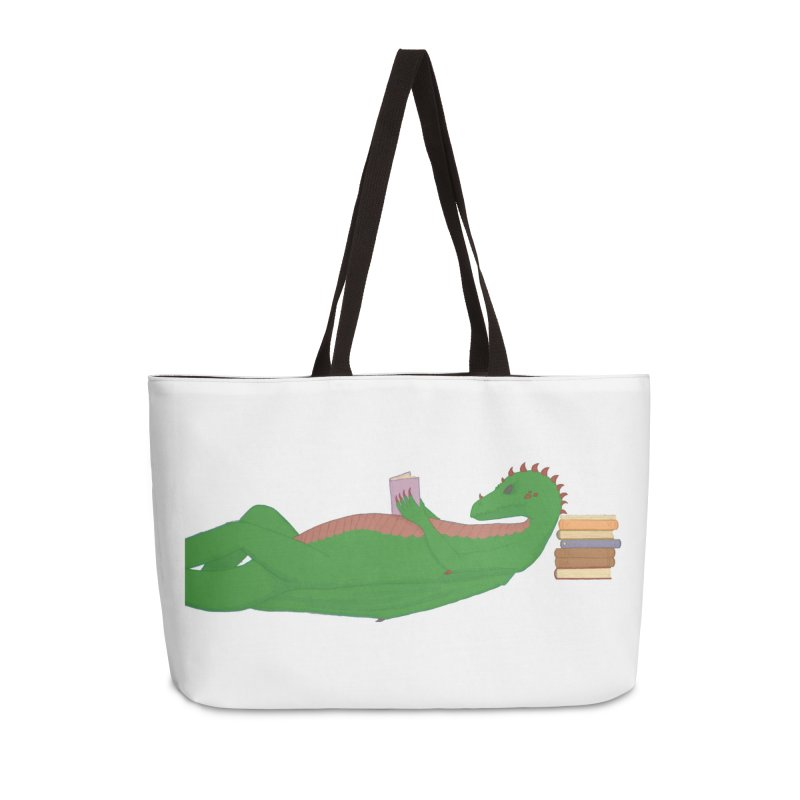 Dragon Reader Accessories Weekender Bag Bag by wchwriter's Artist Shop
