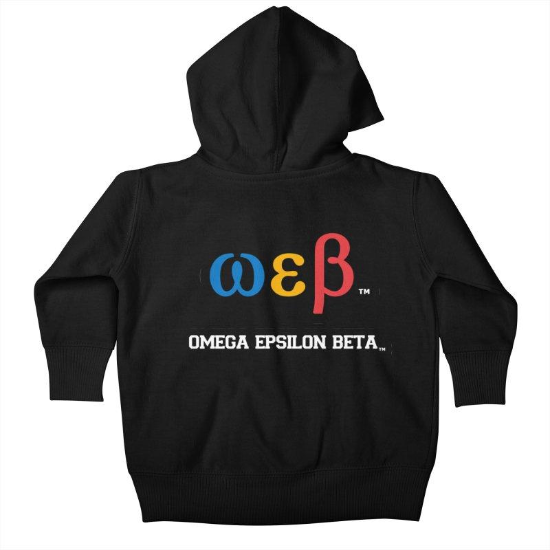 OMEGA EPSILON BETA™ | omegaepsilonbeta.com Kids Baby Zip-Up Hoody by WebBadge Merch Shop