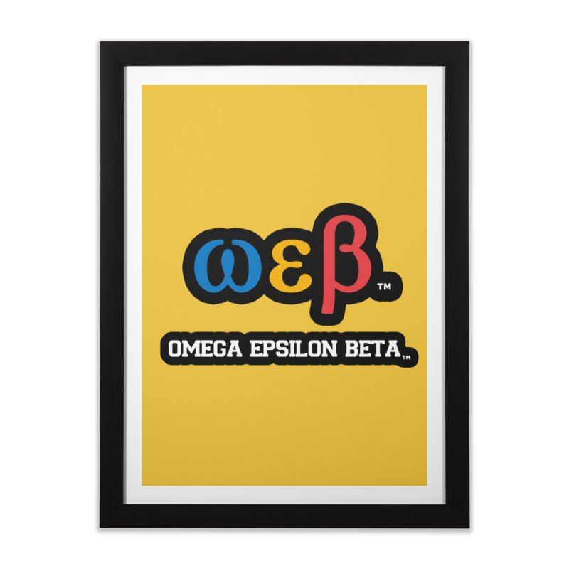 OMEGA EPSILON BETA™ | omegaepsilonbeta.com Home Framed Fine Art Print by WebBadge Merch Shop