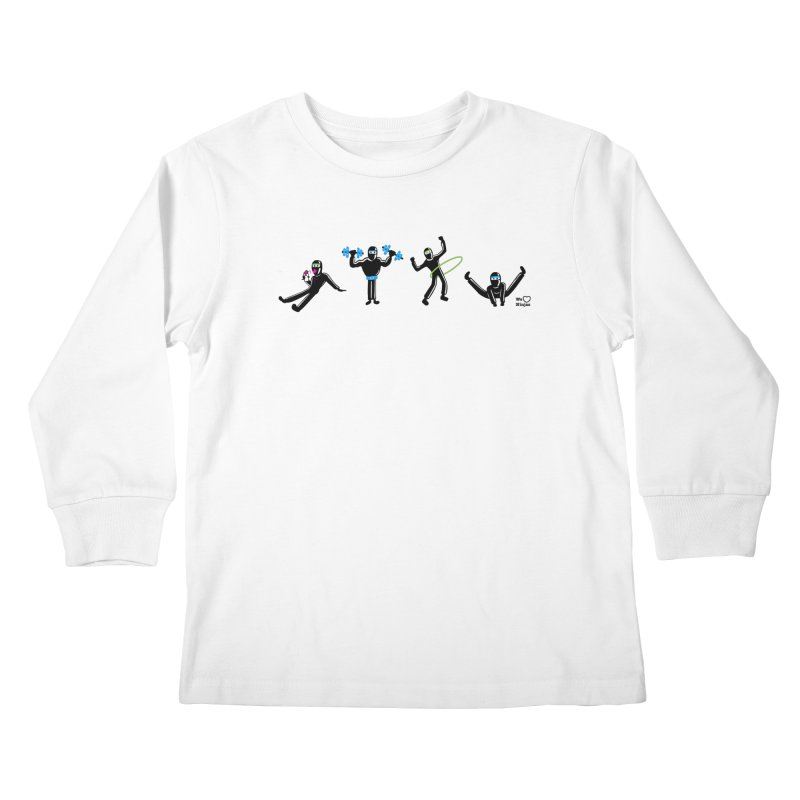 Ninjas getting physical! Kids Longsleeve T-Shirt by Weheartninjas's Artist Shop