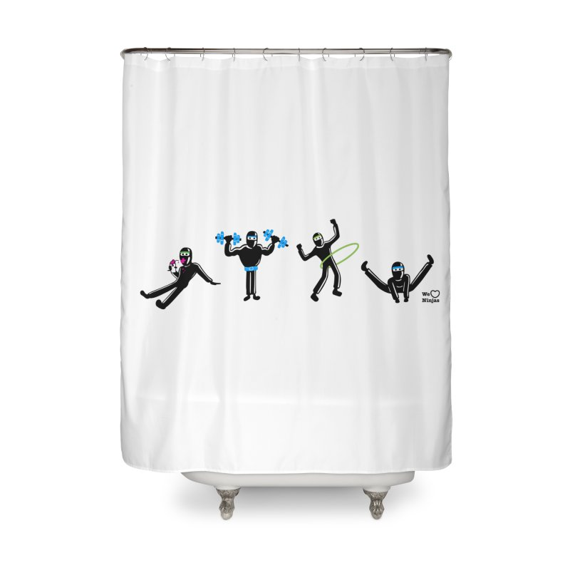 Ninjas getting physical! Home Shower Curtain by Weheartninjas's Artist Shop