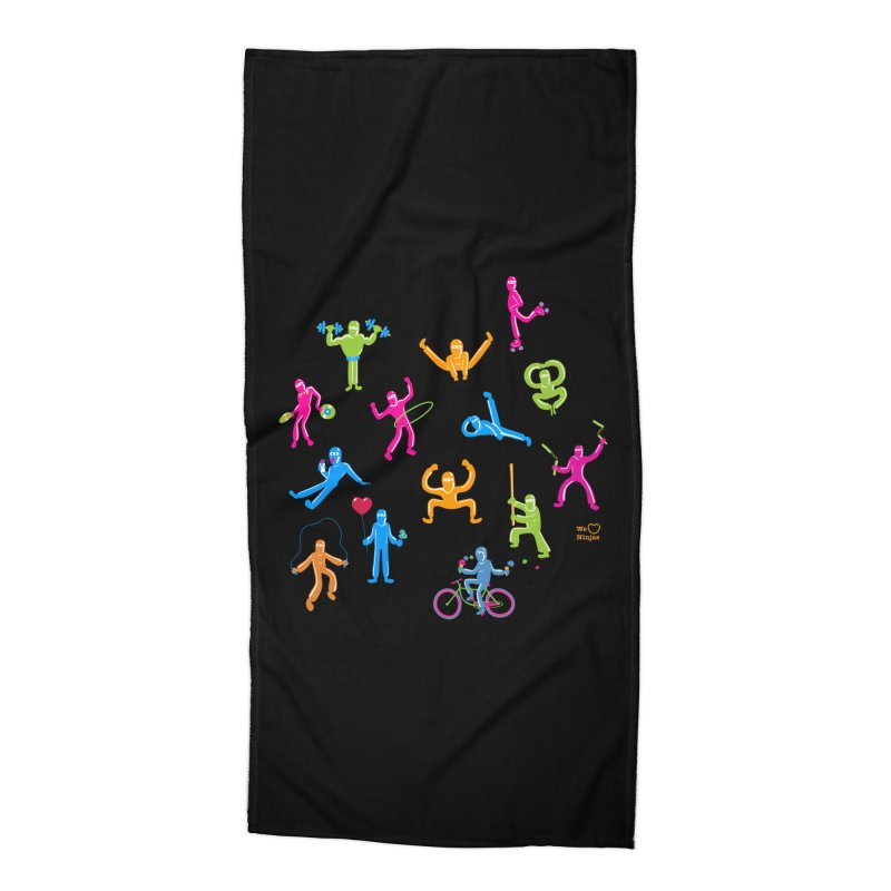 We Heart Ninjas in neon! Accessories Beach Towel by Weheartninjas's Artist Shop