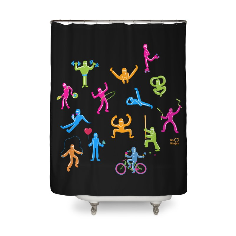 We Heart Ninjas in neon! Home Shower Curtain by Weheartninjas's Artist Shop