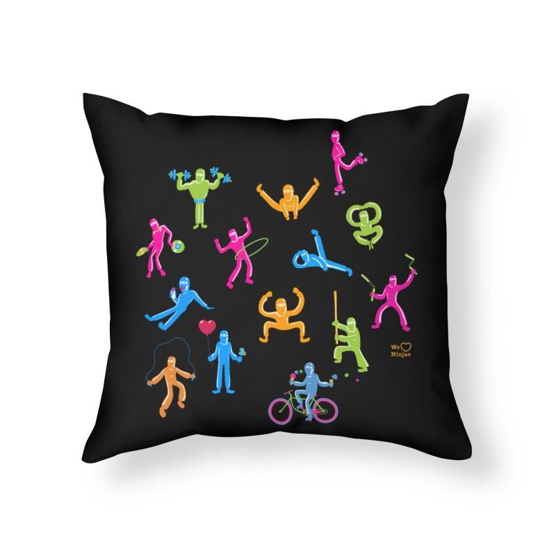 We Heart Ninjas in neon! Home Throw Pillow by Weheartninjas's Artist Shop